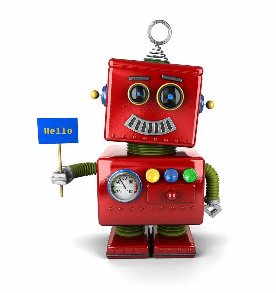 red robot holding hello sign small